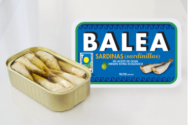 Sardines à l'huile d'olive vierge extra bio. 16/20 pièces. 115 g