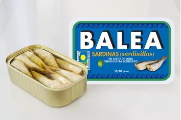 Sardinillas en aceite de oliva virgen extra ecológico: 16/20 piezas. 115 g