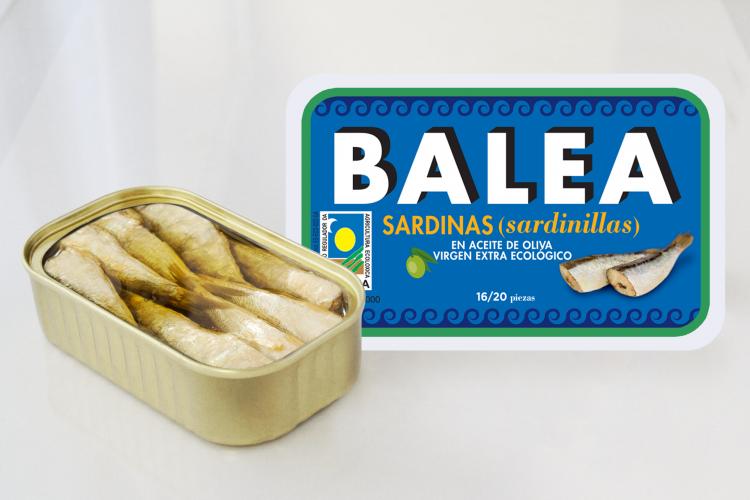 Sardinillas en aceite de oliva virgen extra ecológico: 16/20 piezas. 115 gr