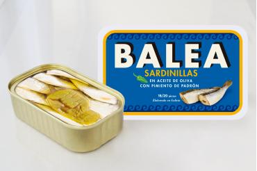 Sardines à l'huile d'olive aux poivron de Padrón. 16/20 pièces. 115g