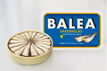 Sardines à l'huile d'olive. 266 g. 35/45 pièces